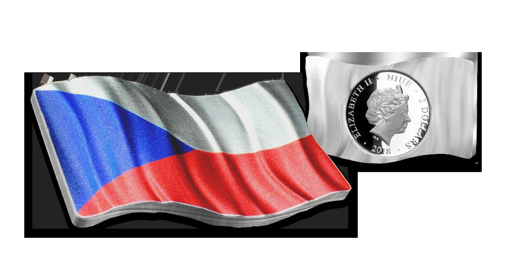 Stříbrná mince s vlajkou Československa v jedné unci ryzího stříbra. Avers.