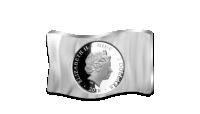 Stříbrná mince s vlajkou Československa v jedné unci ryzího stříbra. Revers.