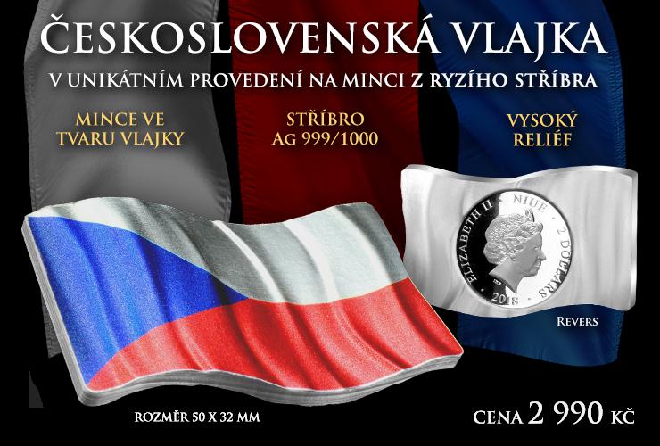 Stříbrná mince s vlajkou Československa