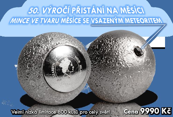 Stříbrná mince ve tvaru Měsíce s pravým měsíčním kamenem