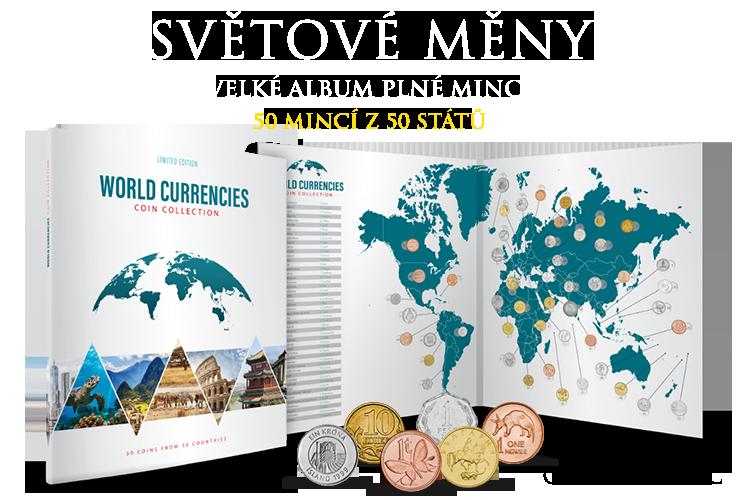 Světové měny - velké album plné mincí