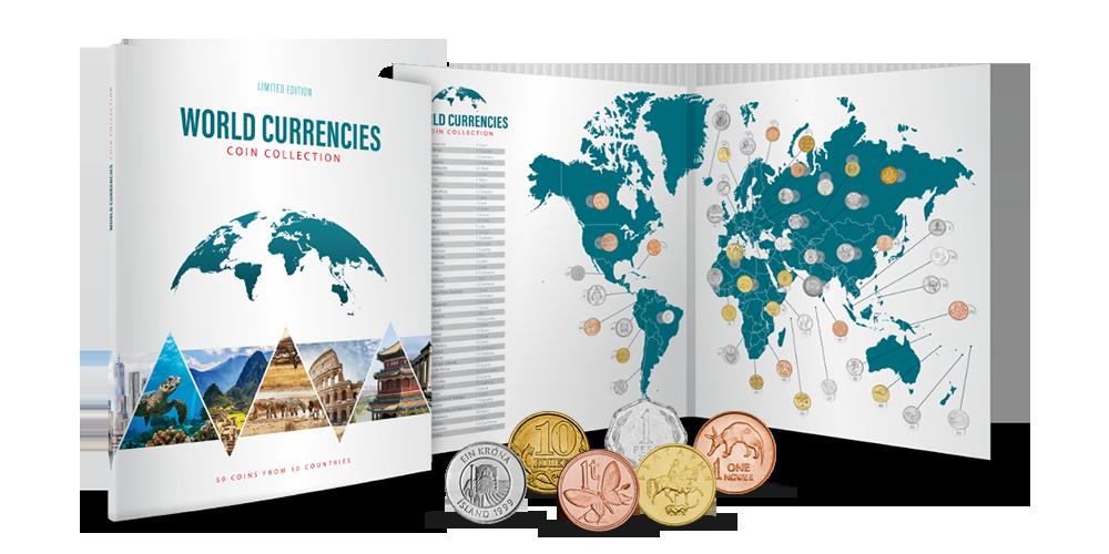 Světové měny - album plné mincí z 50 zemí