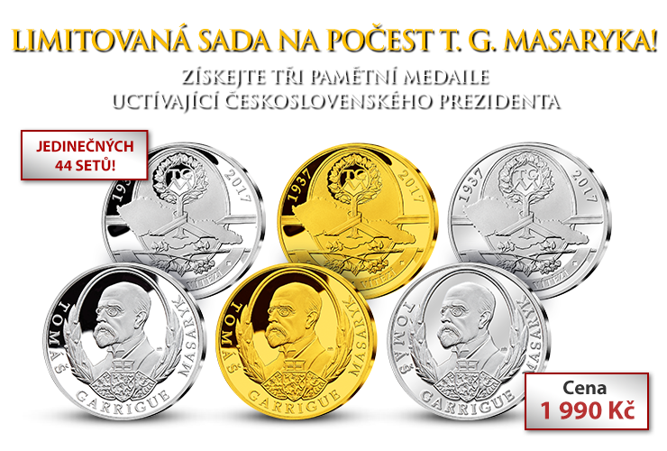 Set tří pamětních medailí  s T. G. Masarykem