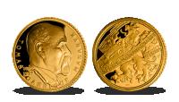 Tomáš Garrigue Masaryk na medaili ze 14karátového zlata