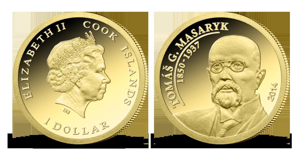 Tomáš G. Masaryk na minci z ryzího zlata