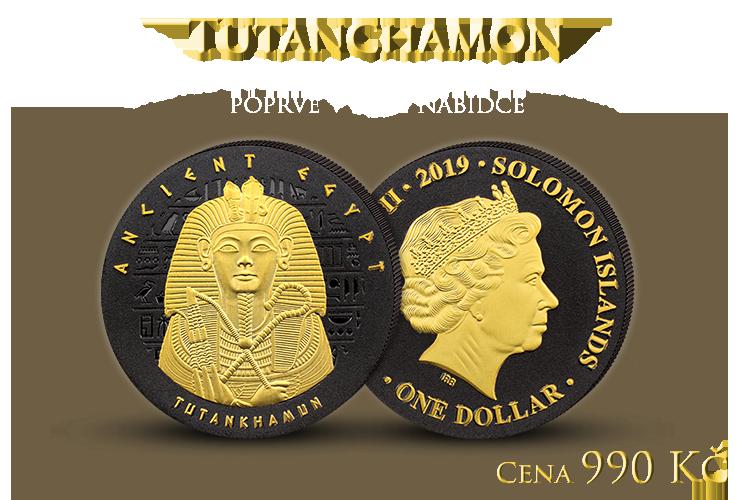 Tutanchamon na minci zušlechtěné černým niklem a ryzím zlatem