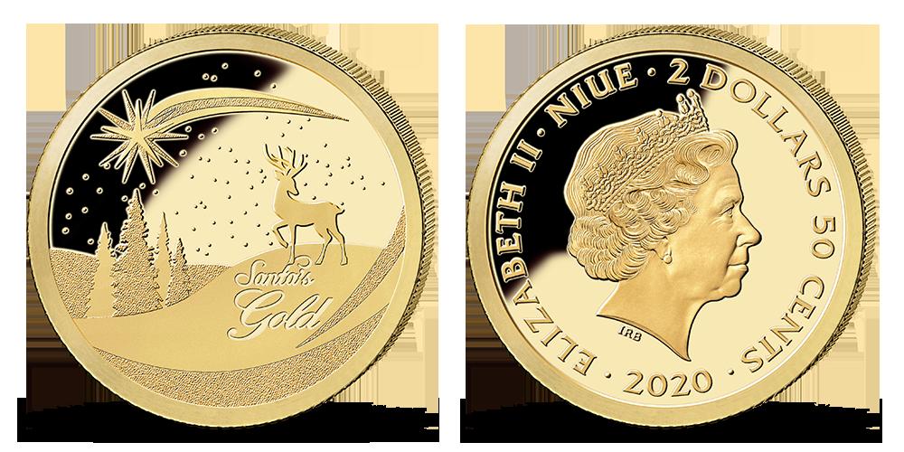Veselé Vánoce na minci z ryzího zlata 999/1000