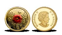 Vlčí mák na minci z ryzího zlata