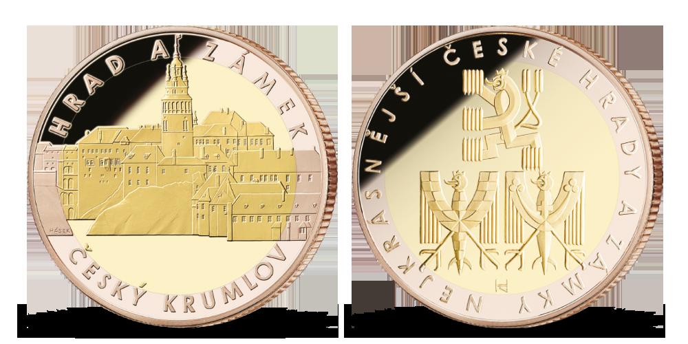 Český Krumlov na pamětní medaili zušlechtěné žlutým a růžovým zlatem 999/1000!