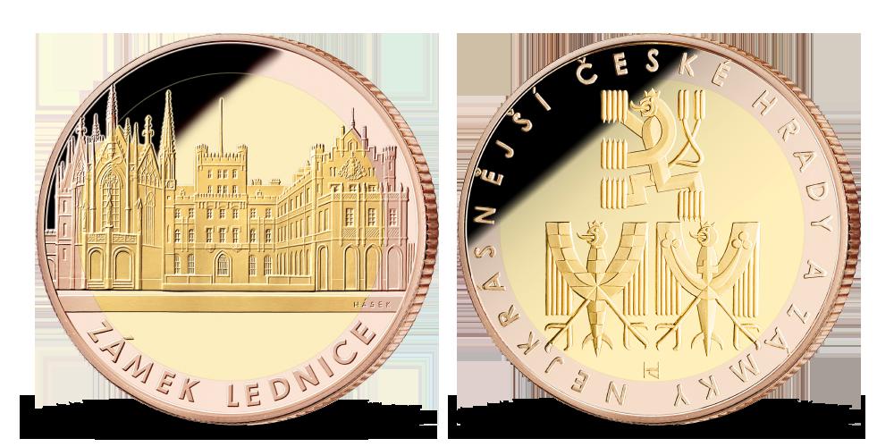 Medaile zámku Lednice v elegantním rámu