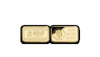 Zlatá mince In Gold We Trust ve tvaru cihličky