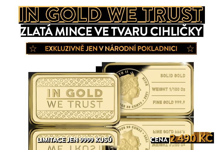 Zlatá mince ve tvaru cihličky, 1/100 oz