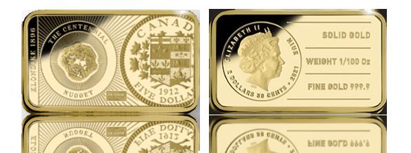 Zlatá mince ve tvaru cihličky z řady In Gold We Trust