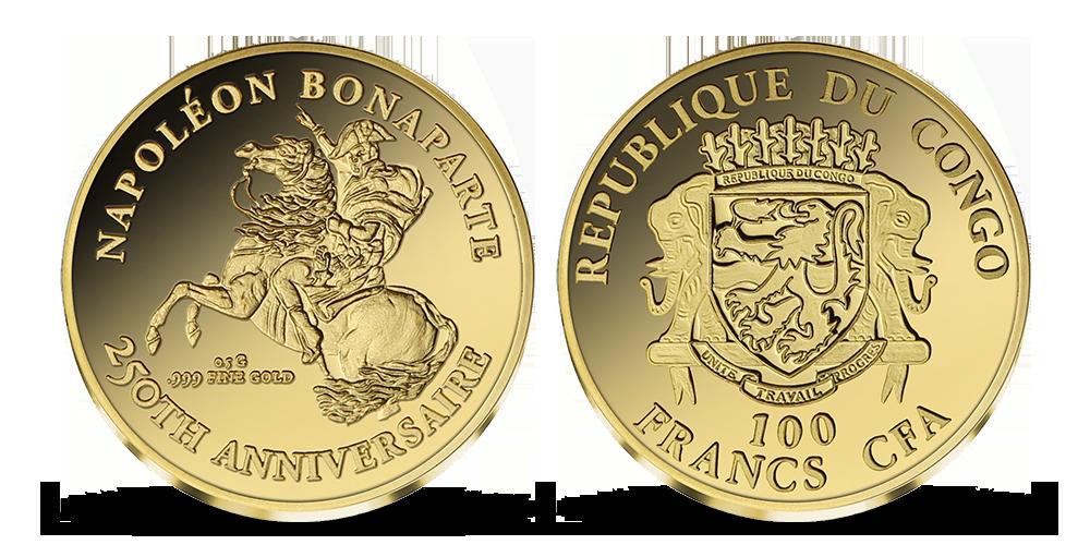 Napoleon Bonaparte na minci z ryzího zlata 999/1000