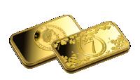 Zlatá mince štěstí ve tvaru cihličky