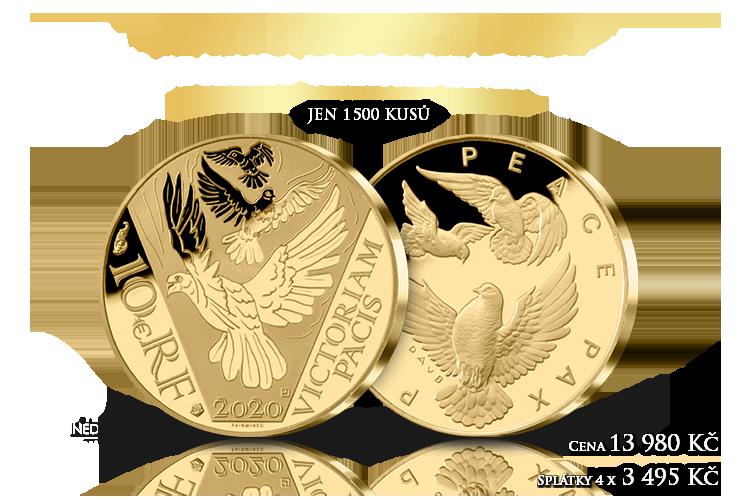 Zlaté holubice míru na minci z certifikovaného zlata