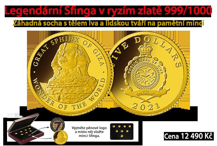 Majestátní Velká Sfinga v ryzím zlatě