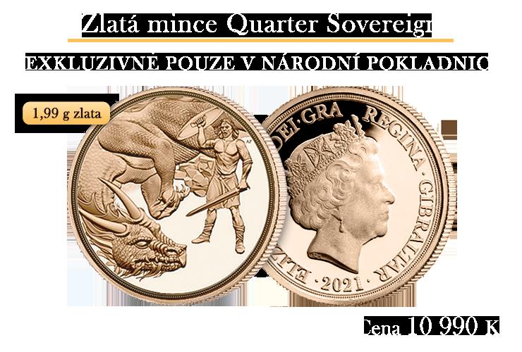 Tradiční zlatý quarter sovereign 2021