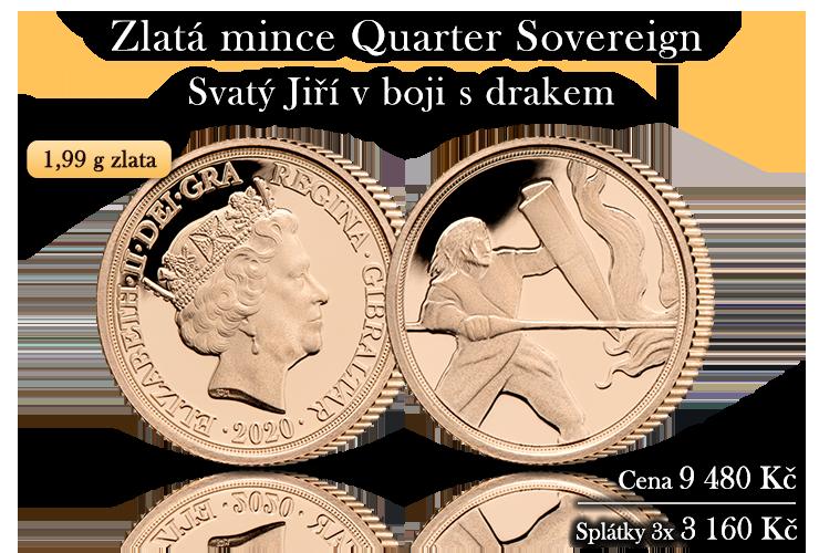 Zlatý Quarter Sovereign 2020 s unikátním výjevem sv. Jiří