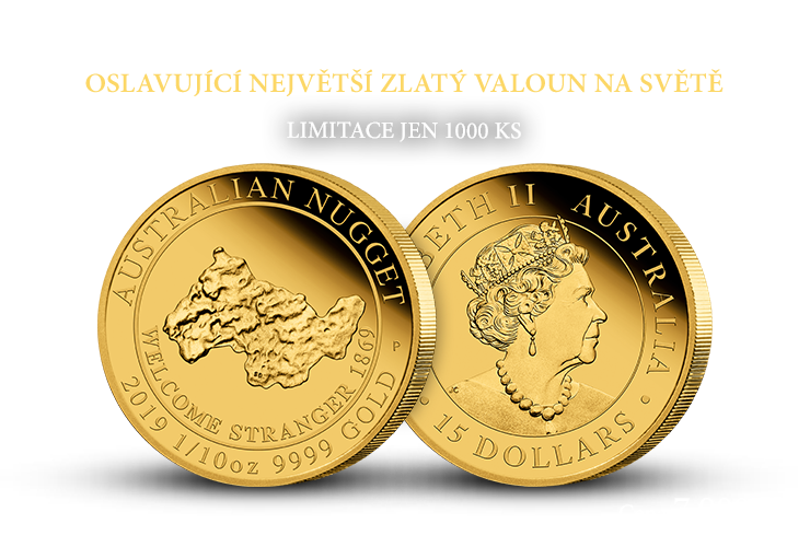 Australský zlatý valoun na minci z ryzího zlata